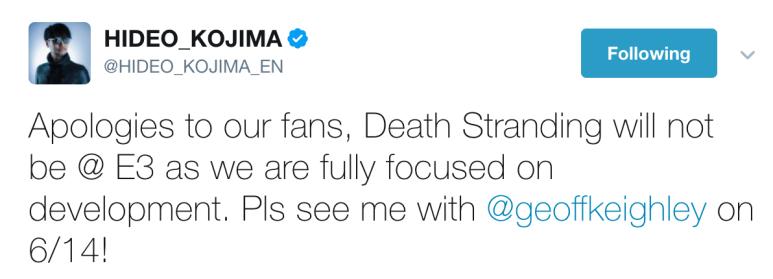 Hideo Kojima Tweet